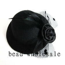 Fashion Ladies Elegant Mini Top Feather Hat Fascinator Hair Clip Party Costume