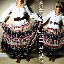 Vtg 80 Southwestern ETHNIC INDIAN hippie gypsy TRIBAL drape Festival MAXI SKIRT