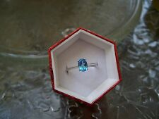 Natural Blue Topaz Ring 925 Silver Oval Size 7