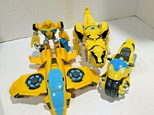 Lot of 4  Bumble Bee Transformers Rescue Bots Jet Motorcycle Dinosaur & Figure