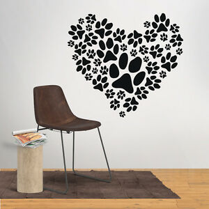 Paw Prints Heart Wall Art Sticker Vinyl Decal Mural Decor Animal Dog Love Pet