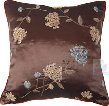 PAIR(2PCS)brown with bothside hand embroidery floral Satin Cushion Cover