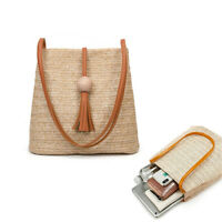 Women Bali Hand Woven Shoulder Bag Straw Beach Boho Crossbody