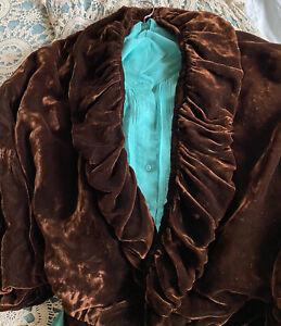 Antique 1800's Authentic Victorian Jacket Brown  Velvet Waist Coat With Ties