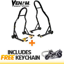 Venom Motorcycle Front+Rear Paddle Wheel Lift Stand For Kawasaki ZR1000 ZR1200 ZRX