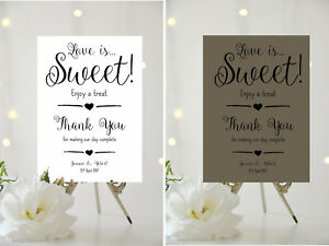 A4/A5 WEDDING SIGN - PERSONALISED - LOVE IS SWEET - CANDY BAR 001