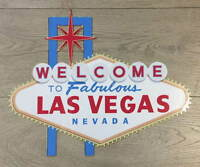WELCOME TO LAS VEGAS metal SIGN - retro American USA wall art plaque 31cm x 38cm