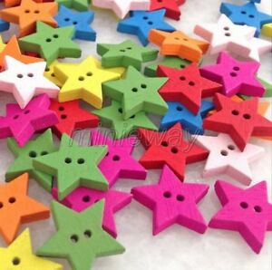 100 Pcs Mixed Color Star Wooden Button For Sewing/Scrapbook Crafts mnk230