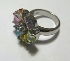 Flower Ring Size J Sterling Silver Multicoloured Cubic Zirconia