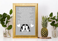 Personalised penguin Ed Sheeran Perfect lyric song a4 print valentines day