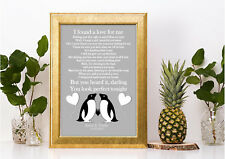 Personalised penguin Ed Sheeran Perfect lyric song print a4 lovely gift word art