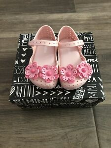 New Mini Melissa Furadinha BB Floral Mary Jane Shoes Toddler Girl Size 6 Lt Pink