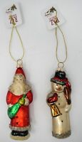 "RAZ 2907210 Christmas Ornament Set 5"" Glass Red Santa & Snowman with Lantern"