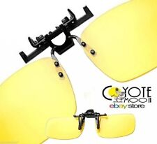Anti-glare Driving Glasses Clip on. Night Vision Rectangular Large Yellow UK