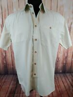 Orvis Hunting Fishing Button Front Short Sleeve Shirt Cream Mens Large