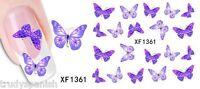 Nail Art Stickers Nail Art Water Decals Transfers Purple Butterflies Butterfly