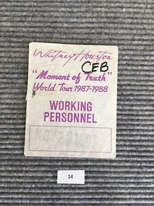 Whitney Houston Moment of Truth World Tour 1987 1988 Working Backstage Pass #14