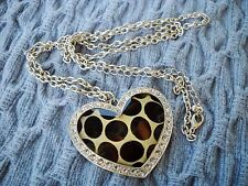 RHINESTONE STUDDED FACETED PLASTIC LEOPARD PRINT HEART W/SILVER TONE CHAIN
