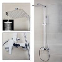 "US 8""Rainfall Bathroom Wall Shower Faucet System Head Mixer Control Valve Chrome"