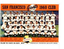 SAN FRANCISCO GIANTS 1960 TEAM 8X10  PHOTO MAYS LOES CALIFORNIA BASEBALL HOF