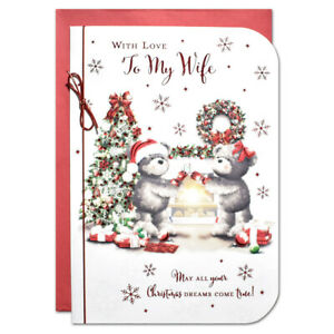 WIFE CHRISTMAS CARD ~ LARGE SIZE QUALITY CARD ~ CUTE DESIGN & LOVELY VERSE