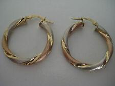 9kt 3 colore oro grande A SPIRALE orecchini a cerchio APPENA ARRIVATO