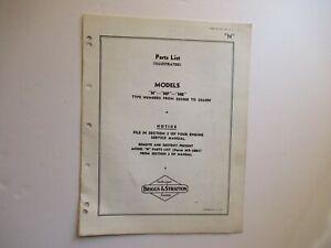 Briggs & Stratton N NP NR engine parts list manual catalog