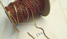 1 Ft Vtg 3mm Rhinestone Swarovski Crystal Chain Brass Set Setting Jewelry Craft