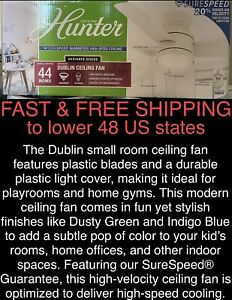 "FREE SHIP New Hunter 44"" Dublin WhisperWind Low-Ceilings LED Indoor Ceiling Fan"