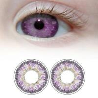1 Pair Contact Lenses Color Soft Big Eye UV Protection Cosmetic Lens PurpleAQ