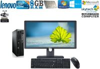 Fast FULL Set Slim PC LENOVO Core i3 USFF DESKTOP LCD Monitor 240GB SSD 8GB 2TB