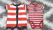 CARTERS BABY BOY OR GILR SET OF 2 LOT ONESIES 6 MONTHS STRIPED CUTIE