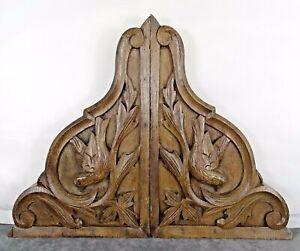 Antique French Wooden Corbels Shelf Pillars Brackets Bookends Oak Wood Birds