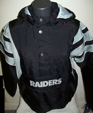 OAKLAND RAIDERS Starter Hooded Half Zip Pullover Jacket S M L XL 2X BLACK