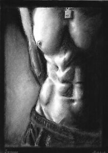 original drawing А3 14MD art by samovar Charcoal male nude Signed 2020
