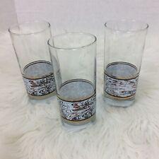 Anchor Hocking Set Three 3 Drinking Glasses Swirl Blue Brown 1988 Vintage