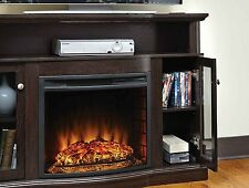 Electric Fireplace Media Console Storage Living Room Furniture Heater TV Stand