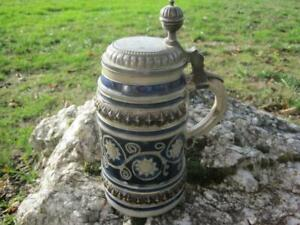 17/18th CENTURY WESTERWALD CERAMIC LIDDED STEIN with TOUCHMARK GFG