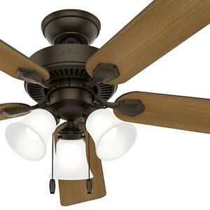 Hunter Fan 52 inch Traditional New Bronze Ceiling Fan with Light and Pull Chain
