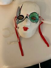 Vintage Clown Face Clay Art Ceramic Hanging Wall Mask Jester Clown Hand Painted