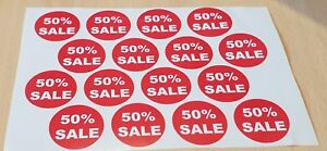 """Retail """"50% Sale"""" Stickers - 48 stickers per Pack (3 sheets of 16). 37 mm dia"""