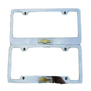 2x Chevrolet Gold Logo Metal license Plate Frame Holder Malibu Impala Avalanche