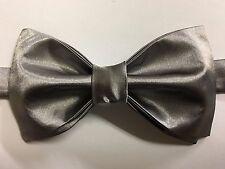 Custom Mens Grey Satin Bow Tie Pre-tied Adjustable