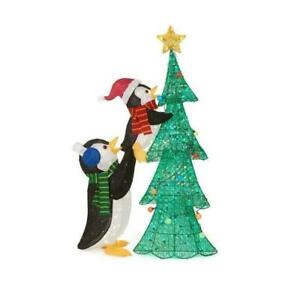 5 FT Christmas Outdoor Lighted Tinsel Penguins 160 LED Lights Holiday Yard Decor