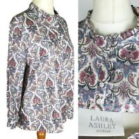 Laura Ashley White Pink Ditsy Floral Smock Blouse Plus Size 16 L
