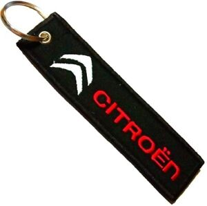 CITROEN CAR RED GREY LOGO Embroidered Stitched Metal Keyring Keychain Automobile