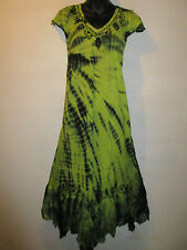 Dress Fits XL 1X 2X 3X Plus Long Sundress Tunic Black Green A Shaped NWT 663
