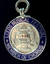 EARLY Silver & Enamel Fob Medal Leeds Music Festival h/m 1901  Member Of Chorus