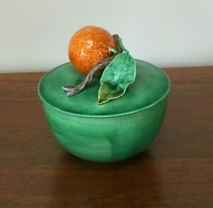Antique Majolica Trompe L'oeil Mandarin Orange Bowl with Lid Portugal (D)