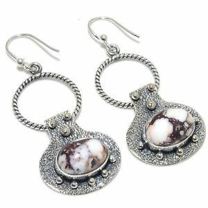 "Wild Horse Jasper Gemstone Handmade 925 Silver Jewelry Earring 2.17"""